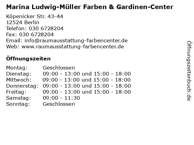 Marina Ludwig-Müller Farben & Gardinen-Center in Berlin: Adresse und Öffnungszeiten
