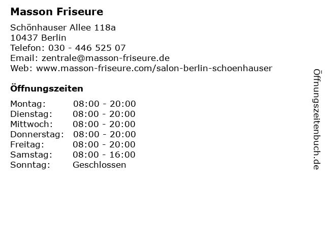 Masson Friseure in Berlin: Adresse und Öffnungszeiten