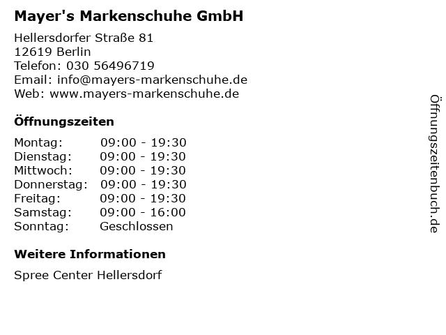 Mayer's Markenschuhe GmbH in Berlin: Adresse und Öffnungszeiten