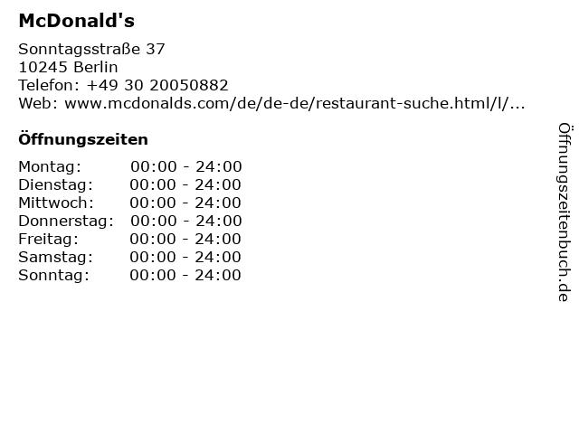McDonalds Deutschland LLC in Berlin: Adresse und Öffnungszeiten