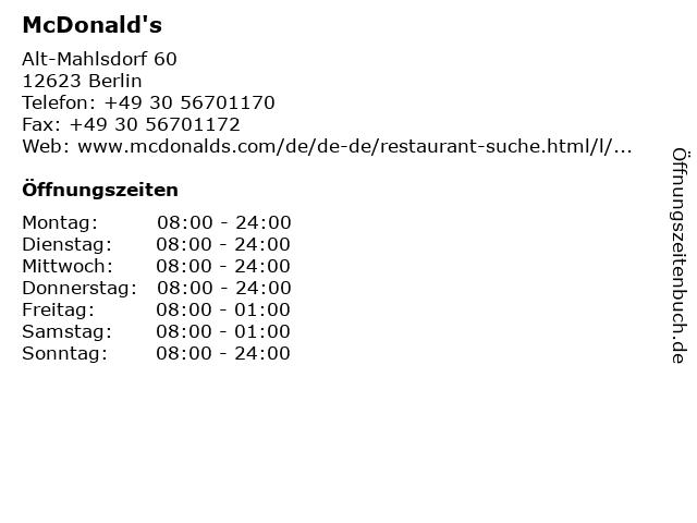 McDonald's in Berlin: Adresse und Öffnungszeiten