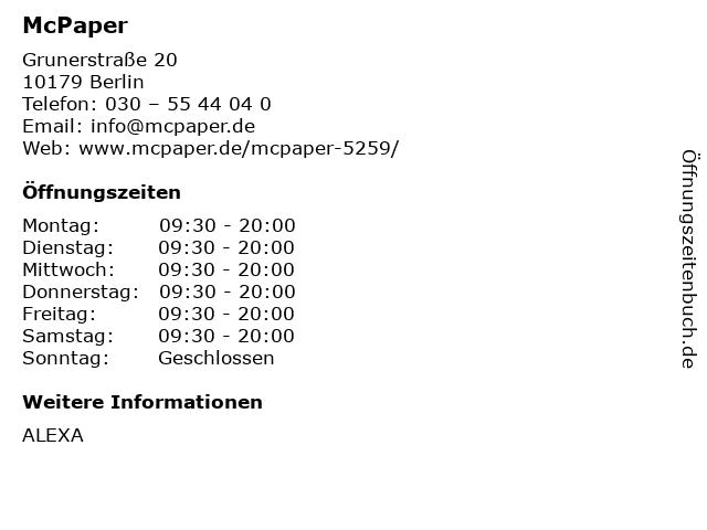 McPaper AG in Berlin: Adresse und Öffnungszeiten