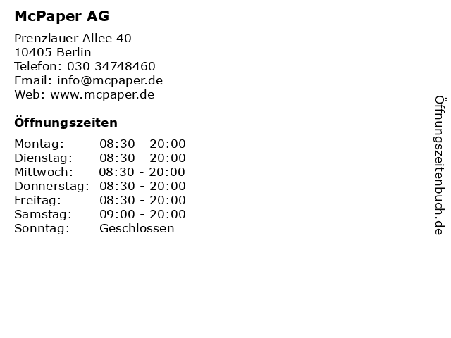 McPaper AG - Deutsche Post Verkaufspunkt in Berlin: Adresse und Öffnungszeiten