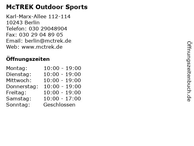 McTREK Outdoor Sports in Berlin: Adresse und Öffnungszeiten