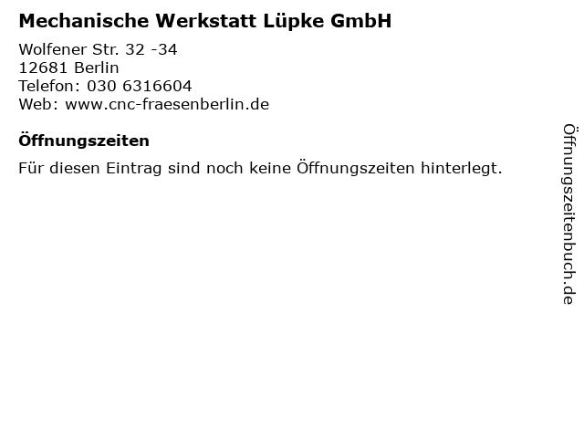 Mechanische Werkstatt Lüpke GmbH in Berlin: Adresse und Öffnungszeiten