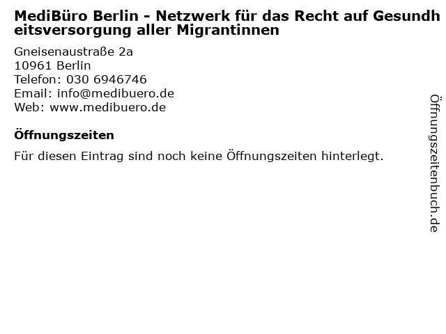 MediBüro Berlin - Netzwerk für das Recht auf Gesundheitsversorgung aller Migrantinnen in Berlin: Adresse und Öffnungszeiten