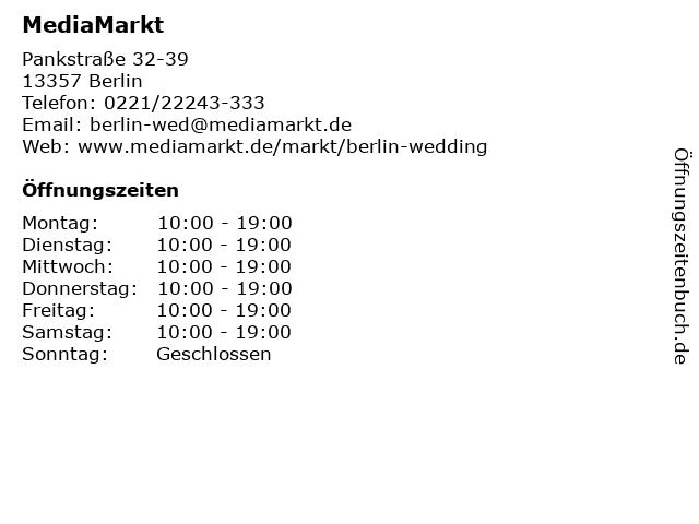 ᐅ öffnungszeiten Media Markt Berlin Wedding Pankstraße 32 39 In