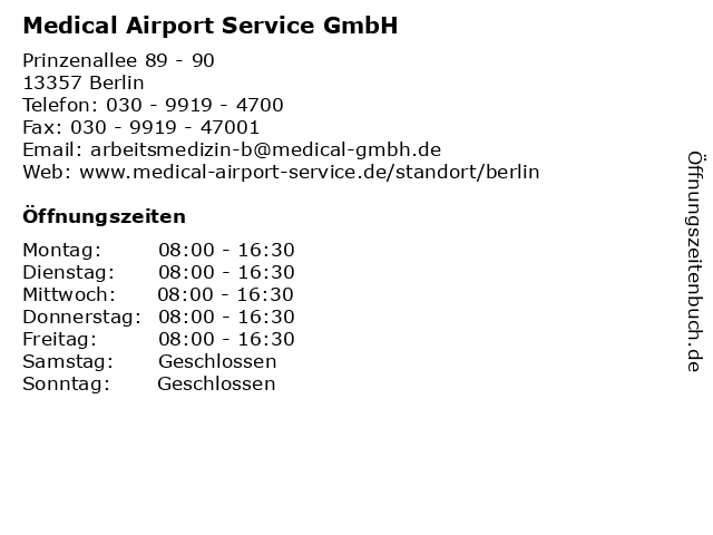Medical Airport Service GmbH in Berlin: Adresse und Öffnungszeiten
