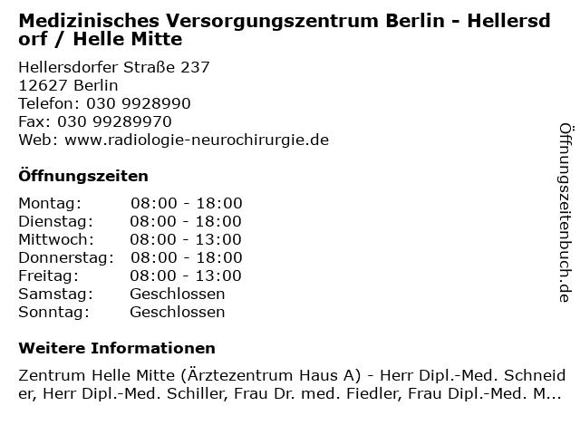 Medizinisches Versorgungszentrum Berlin - Hellersdorf / Helle Mitte in Berlin: Adresse und Öffnungszeiten