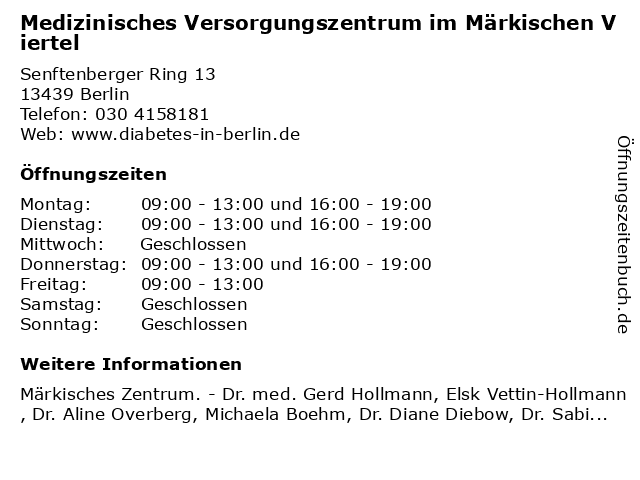 Medizinisches Versorgungszentrum im Märkischen Viertel in Berlin: Adresse und Öffnungszeiten