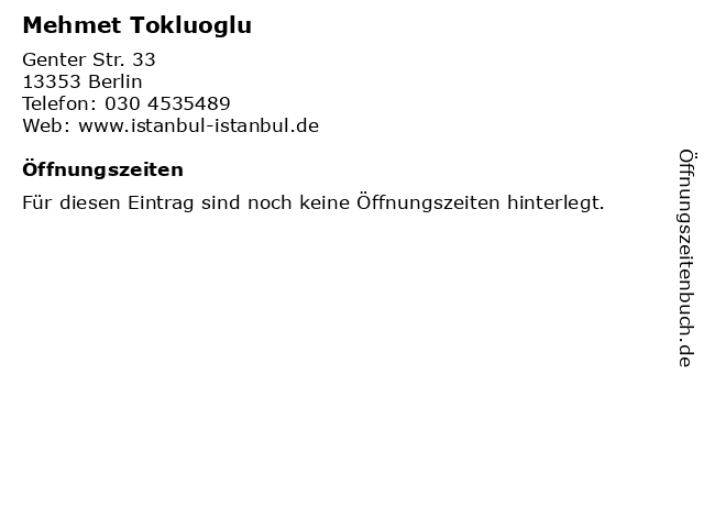 Mehmet Tokluoglu in Berlin: Adresse und Öffnungszeiten