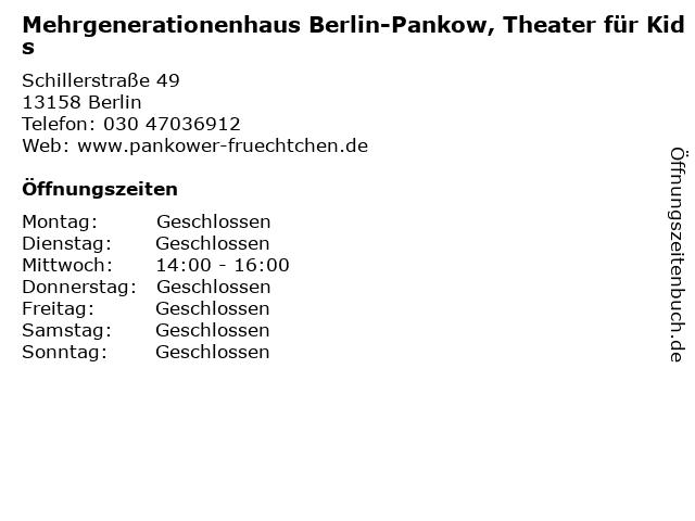 Mehrgenerationenhaus Berlin-Pankow, Theater für Kids in Berlin: Adresse und Öffnungszeiten