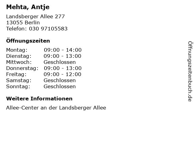 Mehta, Antje in Berlin: Adresse und Öffnungszeiten