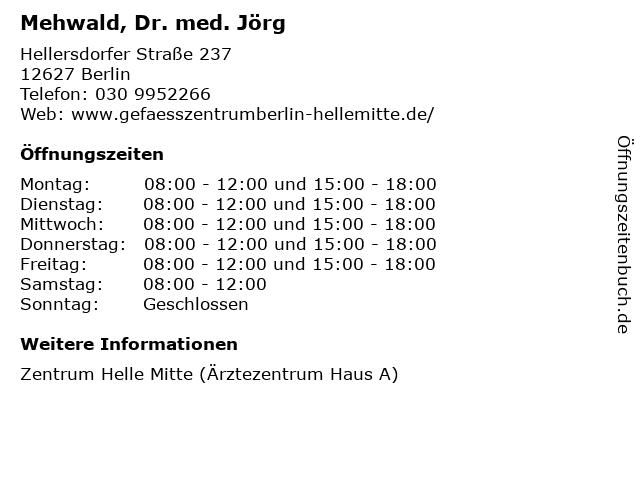 Mehwald, Dr. med. Jörg in Berlin: Adresse und Öffnungszeiten