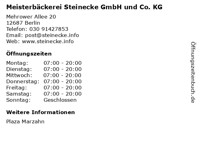 Meisterbäckerei Steinecke GmbH und Co. KG in Berlin: Adresse und Öffnungszeiten