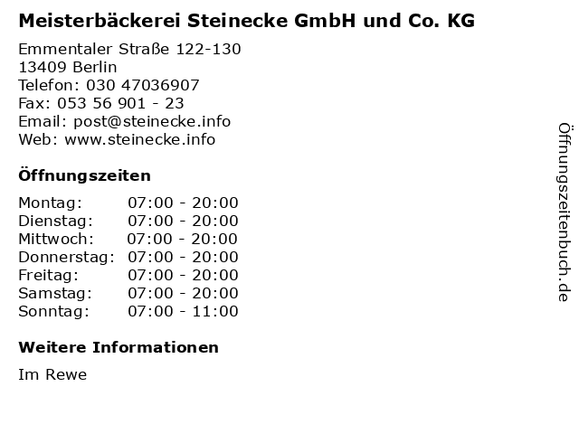 Meisterbäckerei Steinecke in Berlin: Adresse und Öffnungszeiten