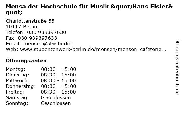 """Mensa der Hochschule für Musik """"Hans Eisler"""" in Berlin: Adresse und Öffnungszeiten"""