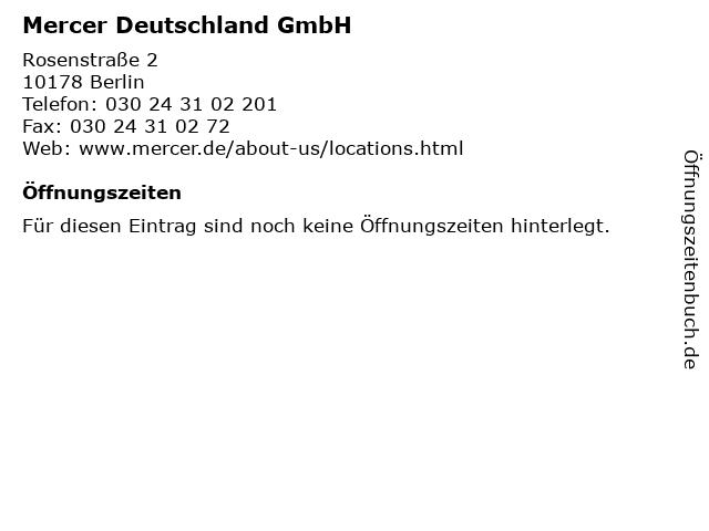 Mercer Deutschland GmbH in Berlin: Adresse und Öffnungszeiten