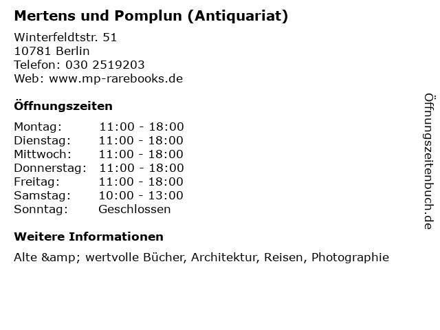 Mertens und Pomplun (Antiquariat) in Berlin: Adresse und Öffnungszeiten