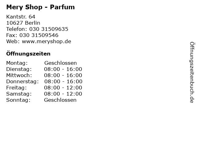 Mery Shop - Parfum in Berlin: Adresse und Öffnungszeiten