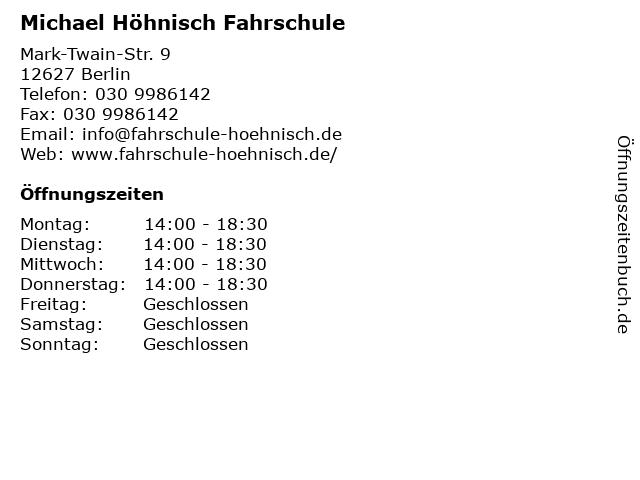 Michael Höhnisch Fahrschule in Berlin: Adresse und Öffnungszeiten