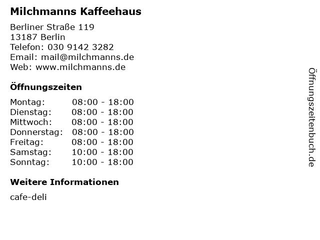 Milchmanns Kaffeehaus in Berlin: Adresse und Öffnungszeiten