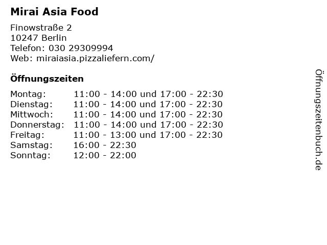 Mirai Asia Food in Berlin: Adresse und Öffnungszeiten