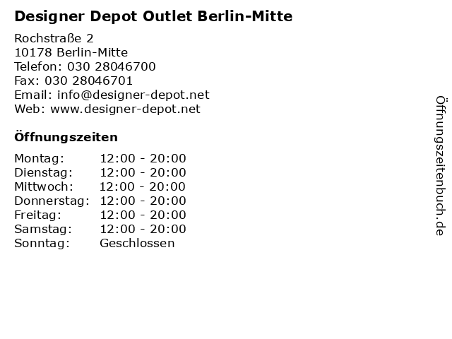 Designer Depot Outlet Berlin-Mitte in Berlin-Mitte: Adresse und Öffnungszeiten