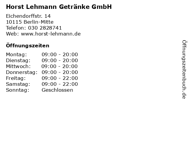 Horst Lehmann Getränke GmbH in Berlin-Mitte: Adresse und Öffnungszeiten