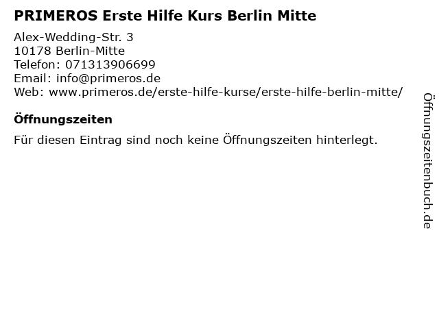 PRIMEROS Erste Hilfe Kurs Berlin Mitte in Berlin-Mitte: Adresse und Öffnungszeiten