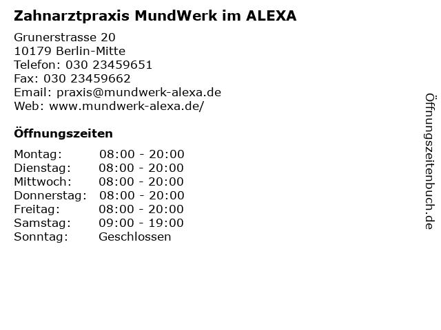 Zahnarztpraxis MundWerk im ALEXA in Berlin-Mitte: Adresse und Öffnungszeiten