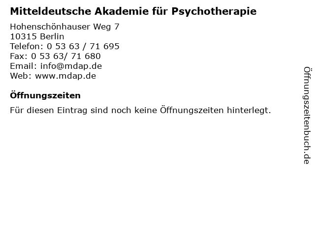 Mitteldeutsche Akademie für Psychotherapie in Berlin: Adresse und Öffnungszeiten
