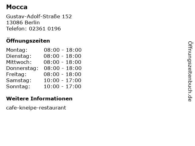 Mocca in Berlin: Adresse und Öffnungszeiten