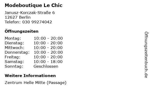 Modeboutique Le Chic in Berlin: Adresse und Öffnungszeiten