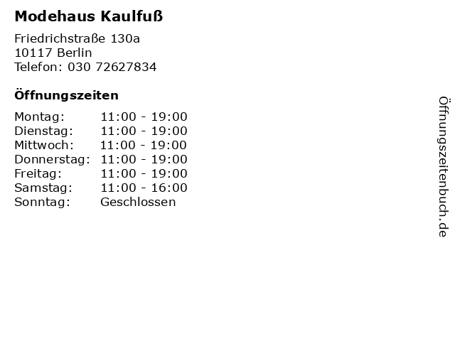 Modehaus Kaulfuß in Berlin: Adresse und Öffnungszeiten