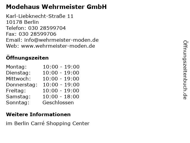 Modehaus Wehrmeister GmbH in Berlin: Adresse und Öffnungszeiten