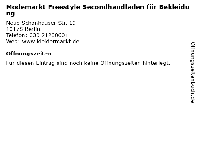 Modemarkt Freestyle Secondhandladen für Bekleidung in Berlin: Adresse und Öffnungszeiten