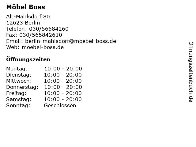 ᐅ öffnungszeiten Möbel Boss Alt Mahlsdorf 80 In Berlin