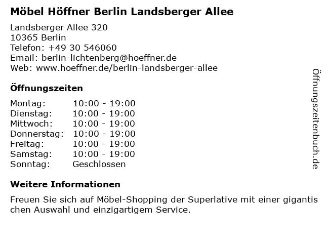 ᐅ öffnungszeiten Möbel Höffner Landsberger Allee 320 In Berlin