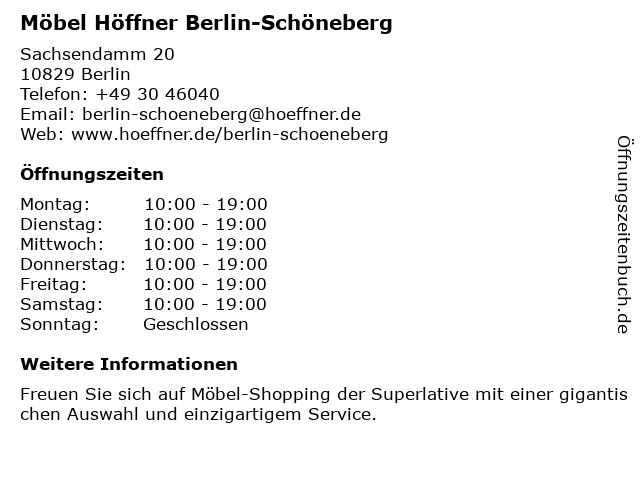 ᐅ öffnungszeiten Möbel Höffner Sachsendamm 20 In Berlin