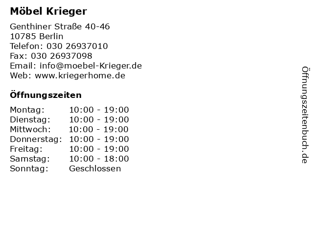 ᐅ öffnungszeiten Möbel Krieger Genthiner Straße 40 46 In Berlin