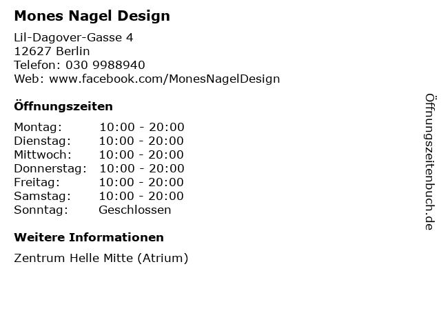 Mones Nagel Design in Berlin: Adresse und Öffnungszeiten