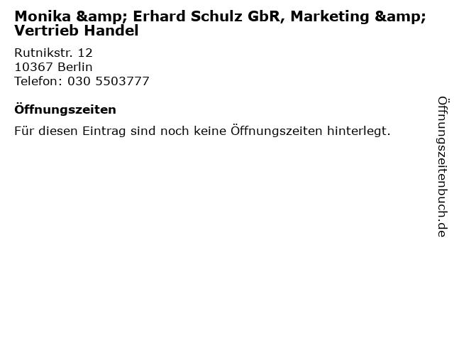 Monika & Erhard Schulz GbR, Marketing & Vertrieb Handel in Berlin: Adresse und Öffnungszeiten