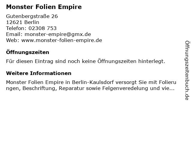 Monster Folien Empire in Berlin: Adresse und Öffnungszeiten