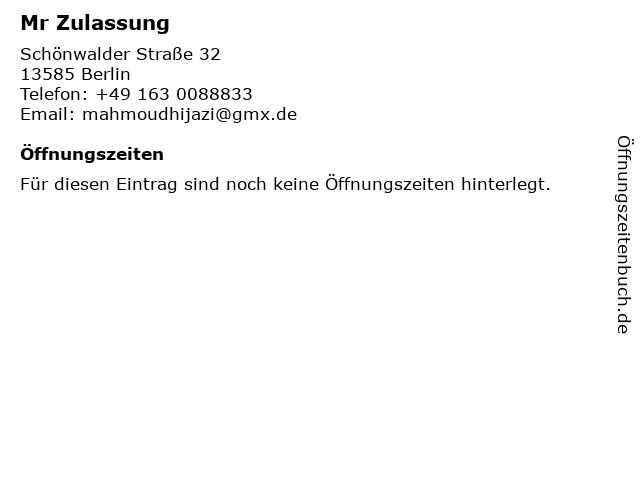 Mr Zulassung in Berlin: Adresse und Öffnungszeiten