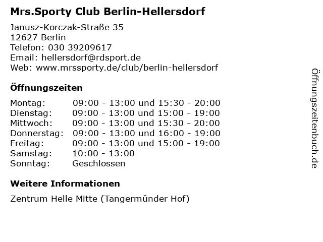 Mrs.Sporty Club Berlin-Hellersdorf in Berlin: Adresse und Öffnungszeiten