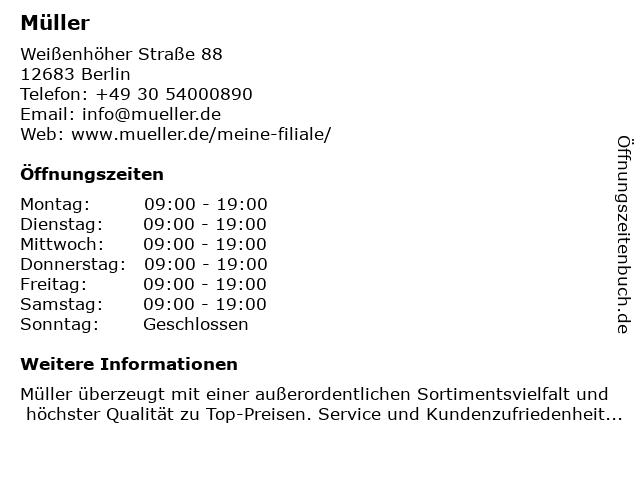 Müller Drogeriemarkt in Berlin: Adresse und Öffnungszeiten