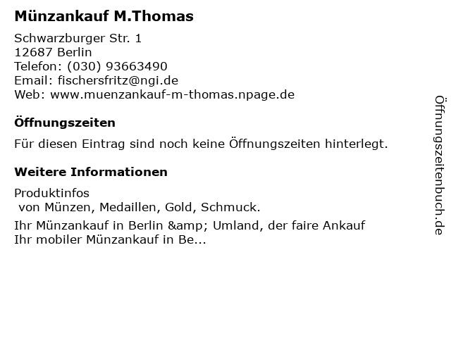 ᐅ öffnungszeiten Münzankauf Mthomas In Berlin
