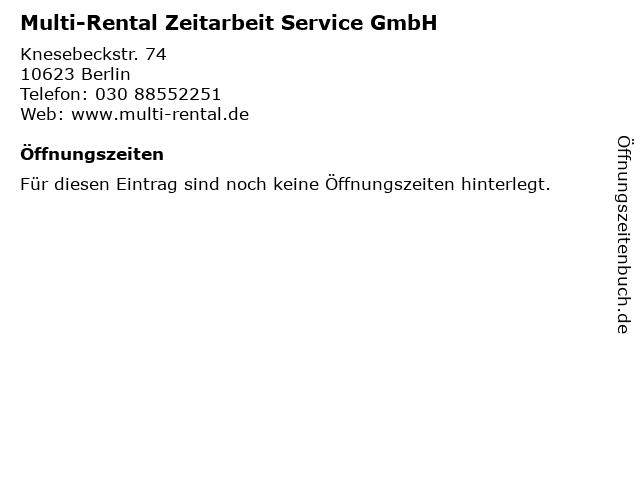 Multi-Rental Zeitarbeit Service GmbH in Berlin: Adresse und Öffnungszeiten
