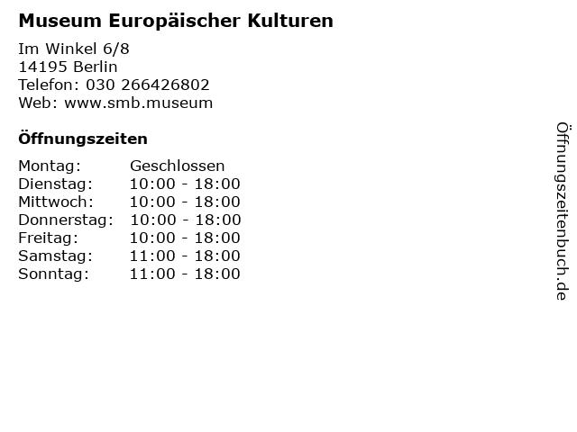 Museum Europäischer Kulturen in Berlin: Adresse und Öffnungszeiten